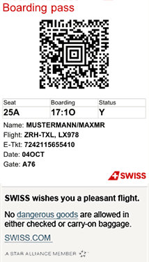 Tarjeta de embarque de Swiss